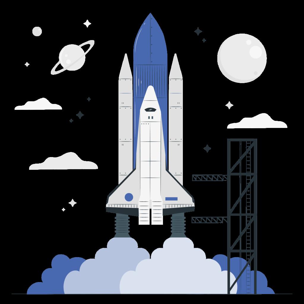 Rocket launch vector illustration